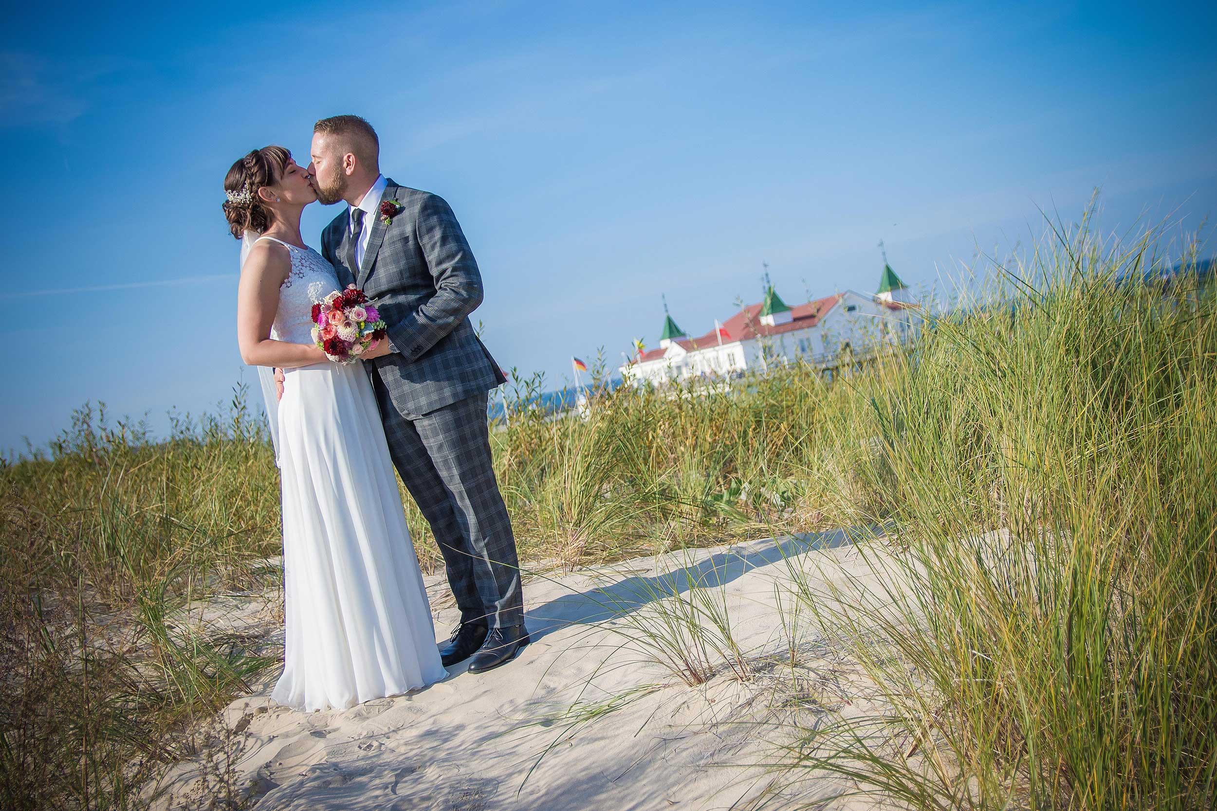 Hochzeitsfoto Ahlbeck Seebrücke Hintergrund