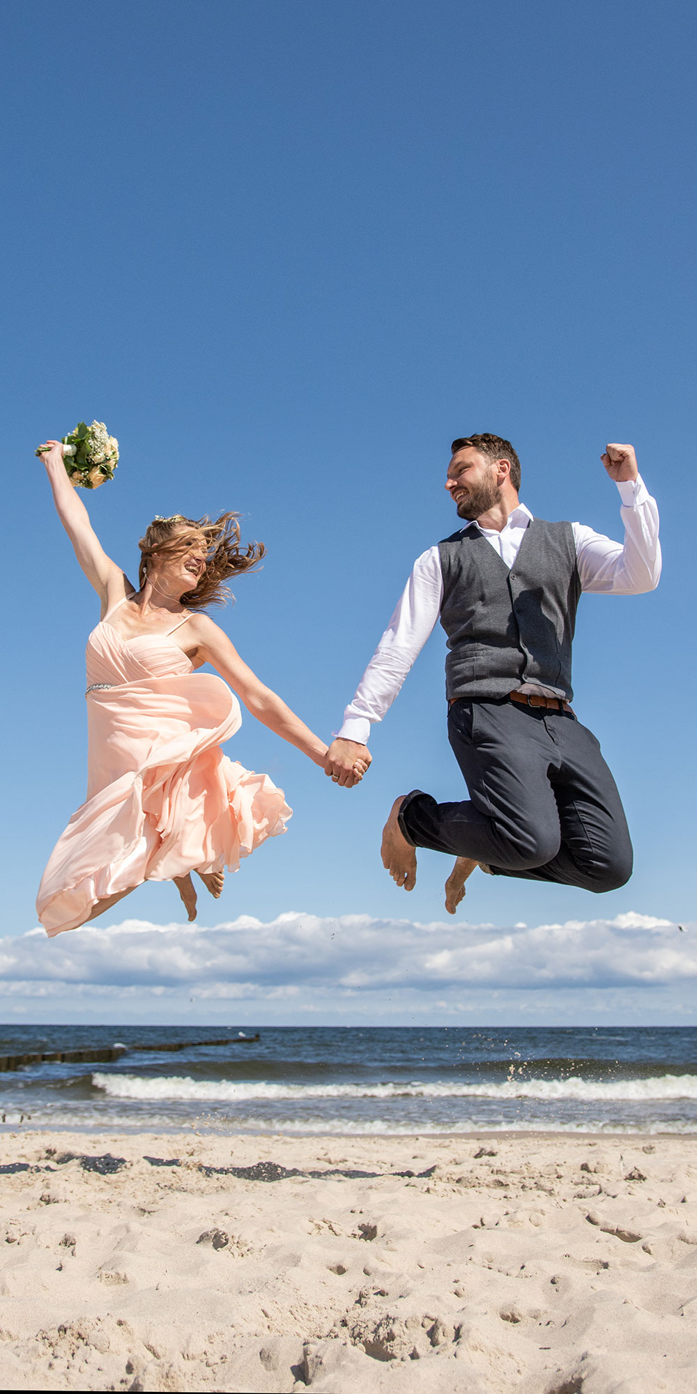 Hochzeitsfoto Sprung Lustig Koserow