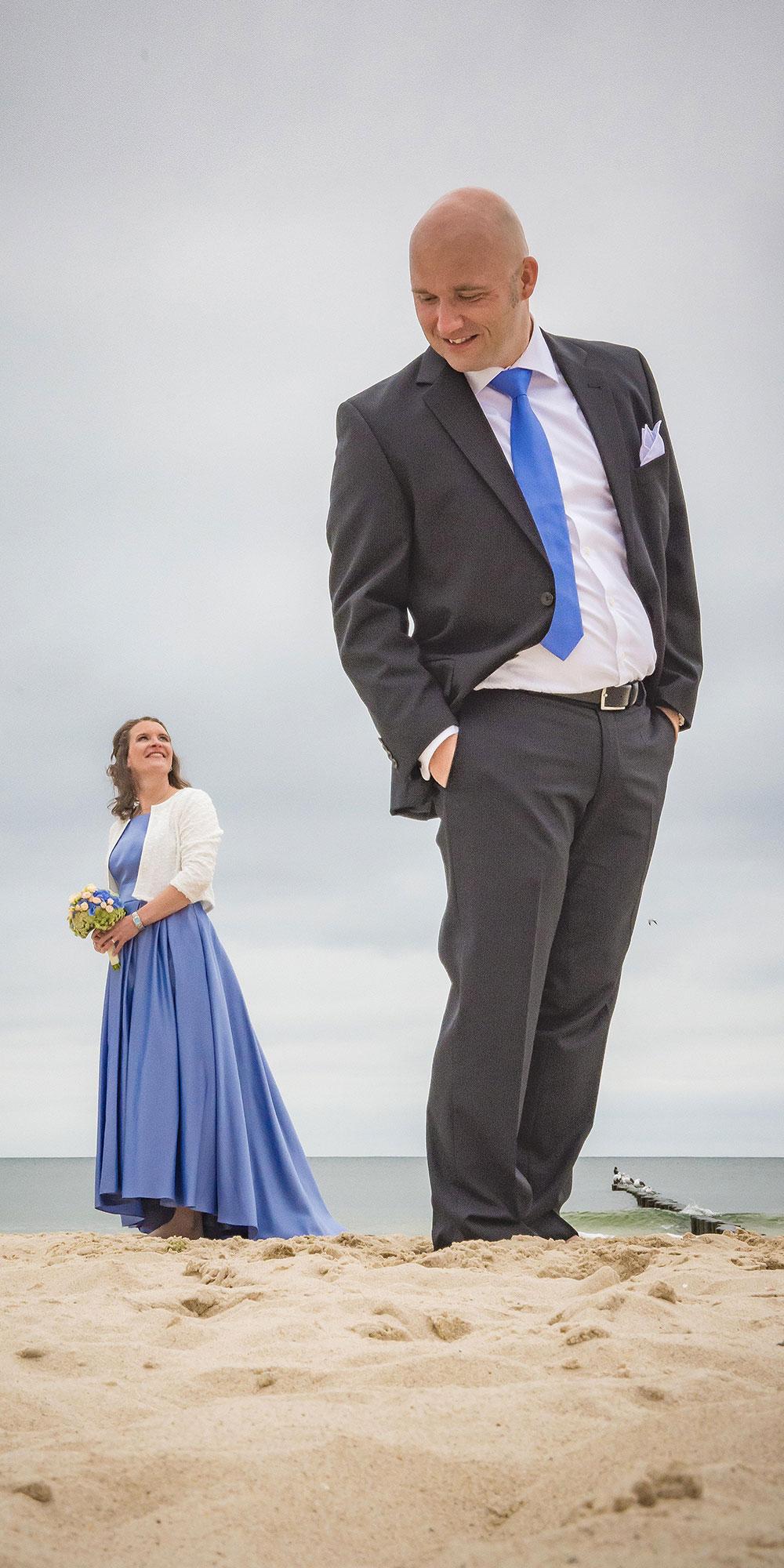 Hochzeitsfoto Geschrumpft kleine Braut