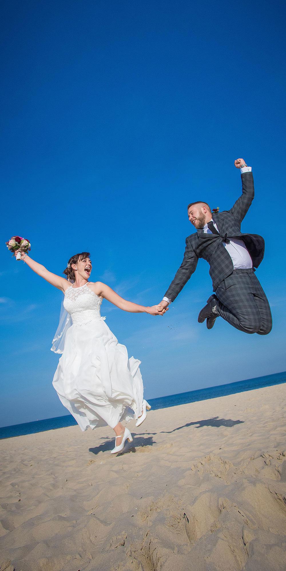 Hochzeitsfoto Sprung Lustig Insel Usedom