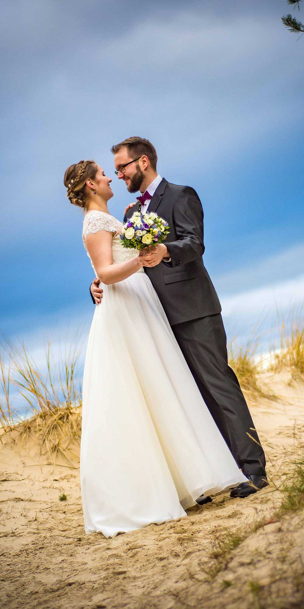 Hochzeitsfoto Strand Strauß Usedom