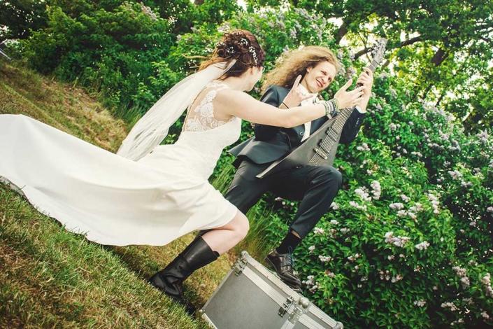 Hochzeitsfoto Rock Metal E-Gitarre