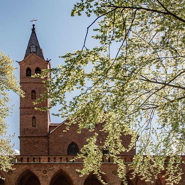 Evangelische Kirche Seebad Heringsdorf Außenaufnahme im Gegenlicht
