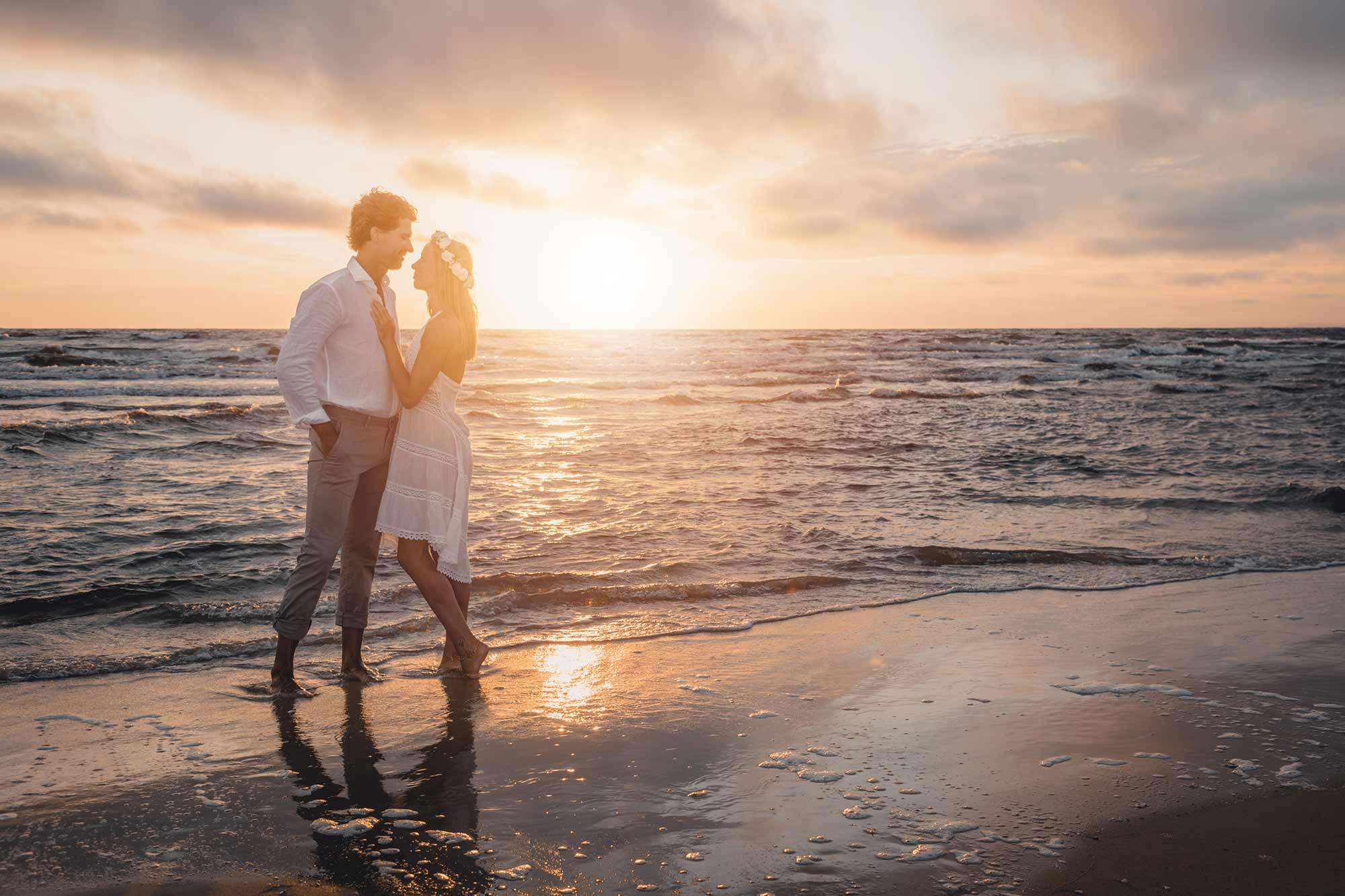 Hochzeitsfotograf Insel Usedom Trauung Brautpaar zum Sonnenaufgang